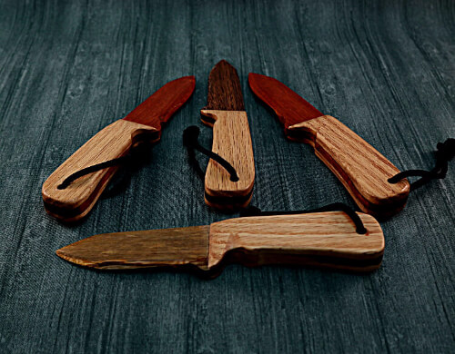 Wooden knives for wax play made with Oak and various exotic woods to accent the handles.