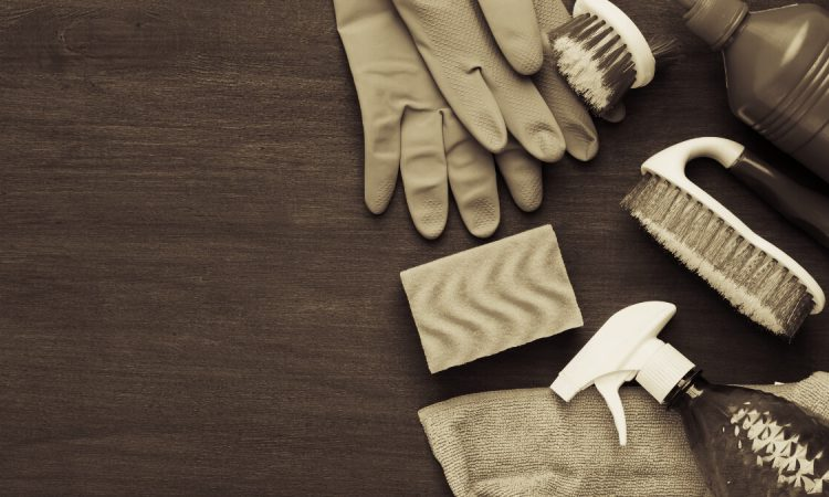 sepia toned image of cleaning supplies -- gloves, sponge, scrubber, spray bottle -- on wooden background for cleaning wooden kink toys