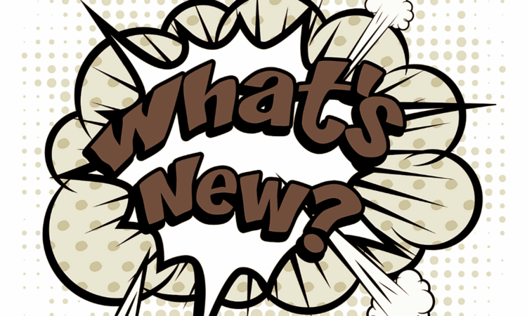 blog banner with comic bubble that says what's new in sepia tones to announce new features for the kinkery