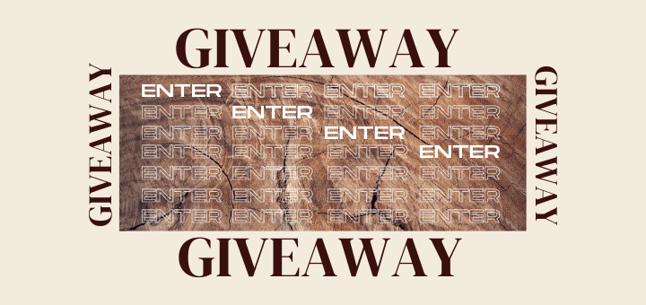 blog banner with the word giveaway four times and cascading vertical text that says enter over and over again over a wood background to promote our gift card giveaway