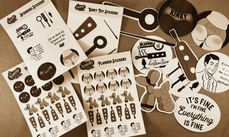 sepia toned blog banner with assortment of new kinky stickers -- sticker sheets, planner stickers, and die cut stickers